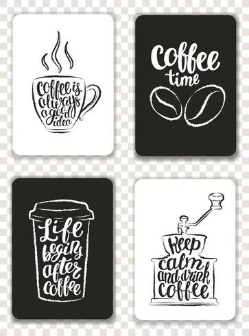 Conjunto de cartões modernos com elementos de café e letras. Modelos de moderno na moda para folhetos, convites, design de menu. Contornos de grunge preto e branco. Ilustração do vetor de caligrafia moderna.