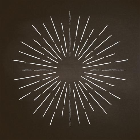 Raios texturizados giz vintage no quadro-negro. Elemento de design linear sunburst em estilo retro. vetor