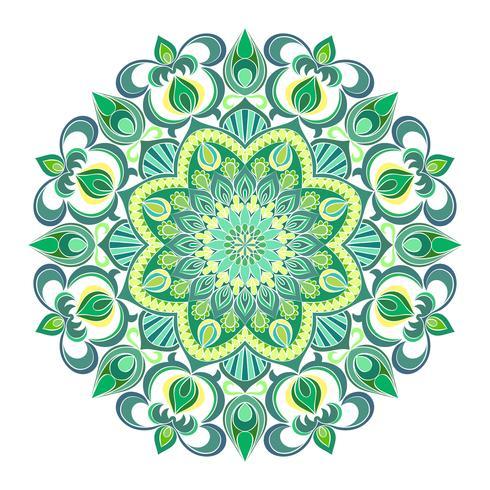 Ornamento de mandala de vetor. Elementos decorativos vintage. Padrão redondo Oriental. Islã, árabe, indiano, turco, paquistão, chinês, motivos otomanos. Fundo floral desenhado de mão. vetor