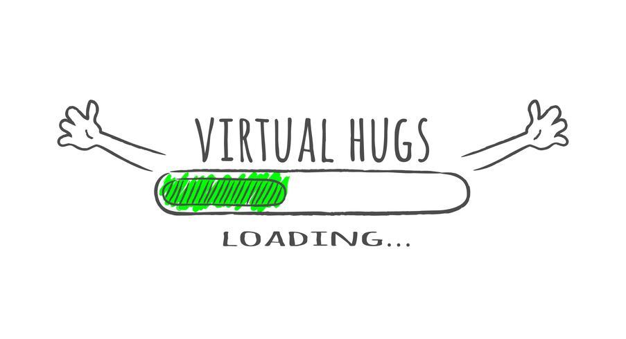 Barra de progresso com inscrição - abraços virtuais carregamento e feliz fase em estilo esboçado. Ilustração vetorial para design de t-shirt, cartaz ou cartão. vetor