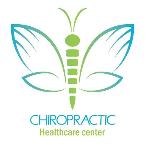 Logotipo da clínica de Quiropraxia com borboleta, símbolo da mão e da coluna vertebral. vetor