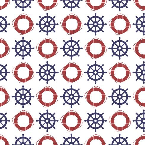 Náutico padrão sem emenda com roda e anel lifebuoy. vetor