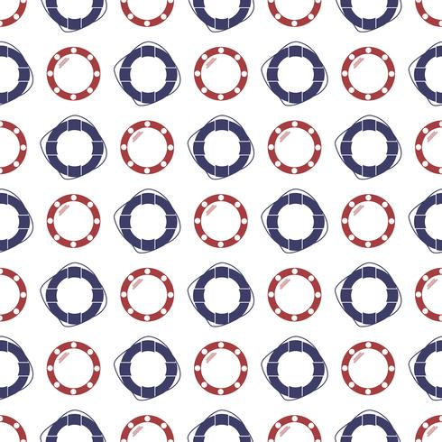 Náutico padrão sem emenda com anel lifebuoy e vigia. vetor