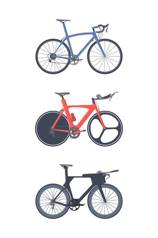 Conjunto de bicicleta de estrada. Ícones planas. Bicicletas de triathlon. vetor