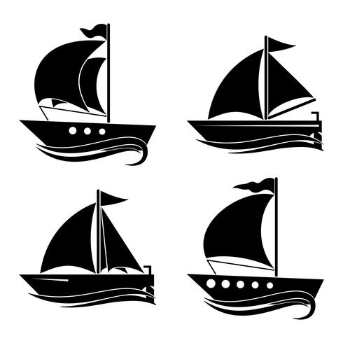 Um conjunto de ícones de iates. Decoração para suas idéias. vetor