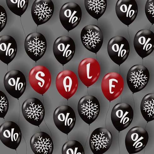 Modelo de venda com balões de ar vetor