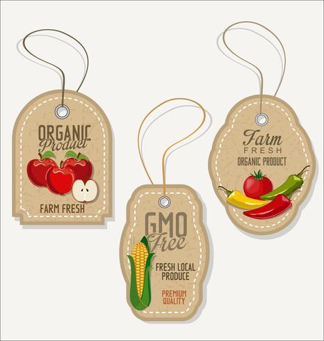Conjunto de rótulos orgânicos frescos vetor