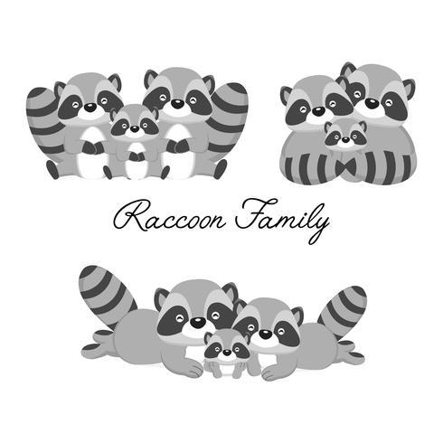 Família animal feliz. Pai, mãe, bebê guaxinim dos desenhos animados. vetor