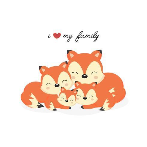 Família animal feliz. Pai, mãe, bebê raposas dos desenhos animados. vetor