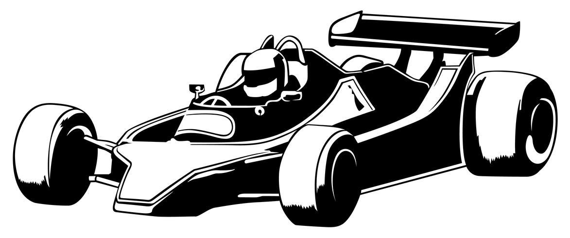 Carro de corrida preto e branco vetor
