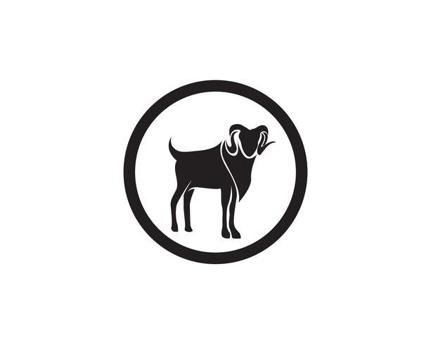 Logotipo de vetor de animais de cabra preto e modelo de símbolos