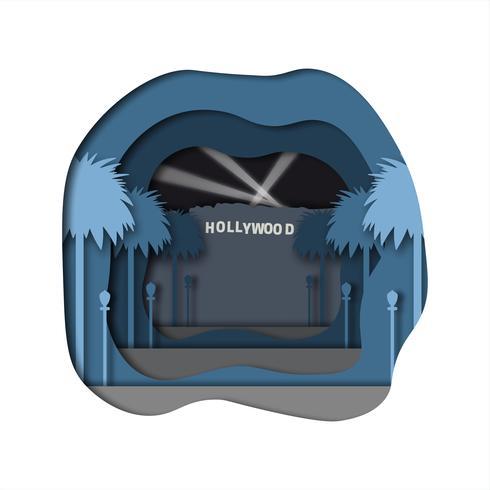 arte de papel de hollywood vetor