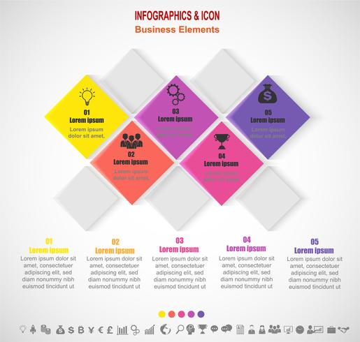Processo de cronograma de negócios infográfico e modelo de ícones. Conceito de negócio com 5 opções, etapas ou processos. Vetor. vetor