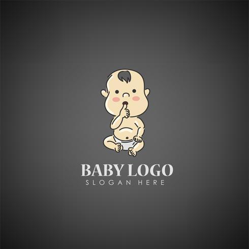 Modelo de logotipo do conceito de bebê. Etiqueta para cuidados infantis, hospital, empresa ou organização. Ilustração vetorial vetor