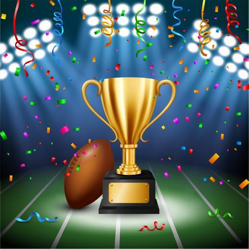 Campeonato de futebol americano com troféu de ouro com confetes caindo e holofotes iluminados, ilustração vetorial vetor