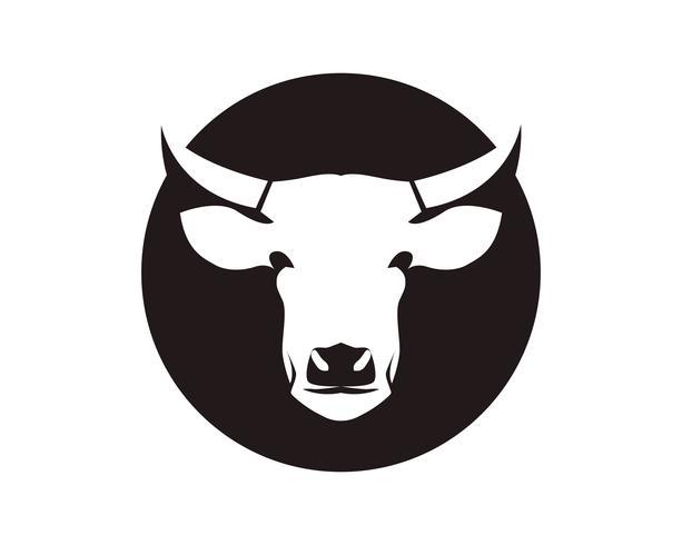 Símbolos de cabeça de vaca e modelo de vetor de logotipo
