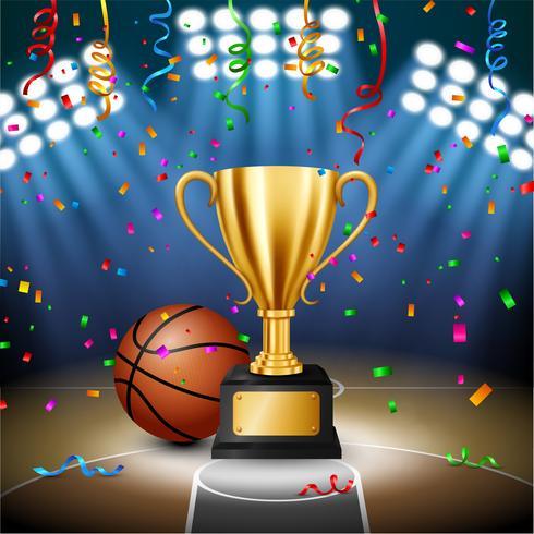 Campeonato de basquete com o troféu de ouro com confetes caindo e holofotes iluminados, ilustração vetorial vetor