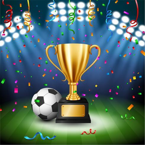 Campeonato de futebol com troféu de ouro com confetes caindo e iluminado holofotes, ilustração vetorial vetor