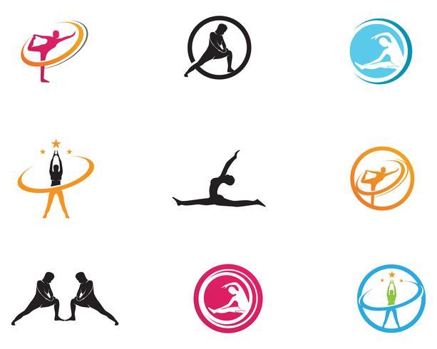 Ícones de vetor de símbolos de logotipo Atlético corpo de ioga