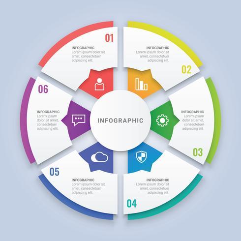 Modelo de infográfico de círculo 3D com seis opções para Layout de fluxo de trabalho, diagrama, relatório anual, Web Design vetor