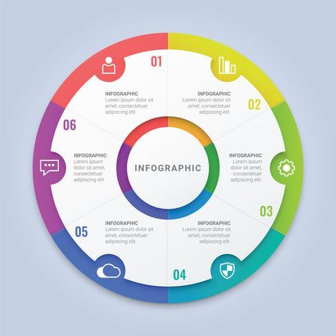 Modelo de círculo moderno infográfico com seis opções de layout de fluxo de trabalho, diagrama, relatório anual, Web Design vetor