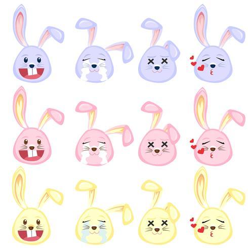 conjunto de emoji de coelho vetor