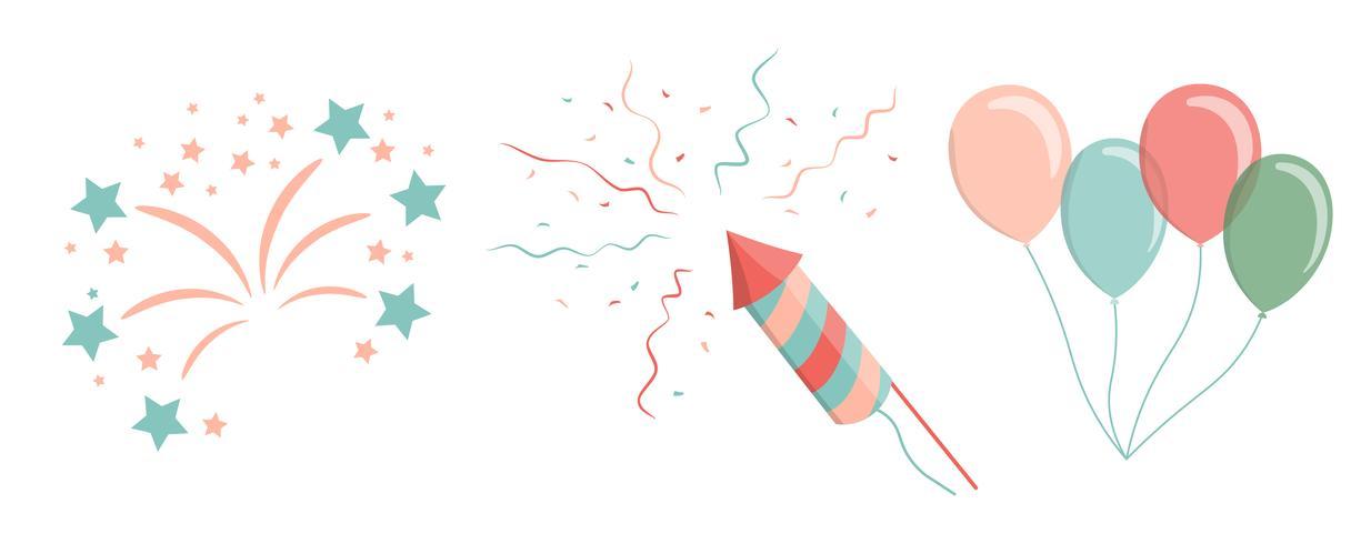 balões de ar de crianças, saudação, fogo de artifício, confete, petardo vetor
