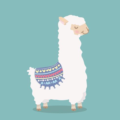Cute, alpaca engraçado, fofo, caricatura vetor