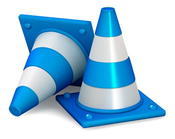 Cones de trânsito isolados no branco vetor