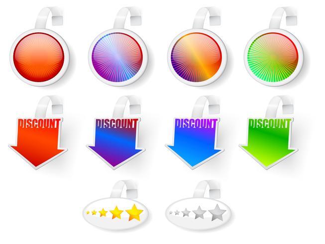 Emblemas de venda, classificação e desconto vetor