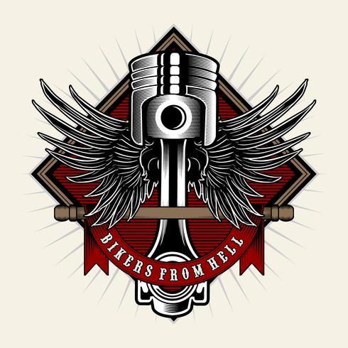 Poder do motociclista Pistão com asas no fundo claro. Elemento de design para logotipo, etiqueta, emblema, sinal, distintivo, t-shirt, cartaz. Ilustração vetorial vetor
