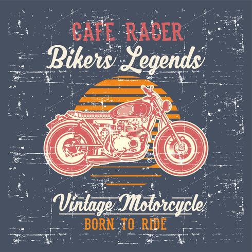 grunge estilo vintage moto café racer mão desenho vetorial vetor