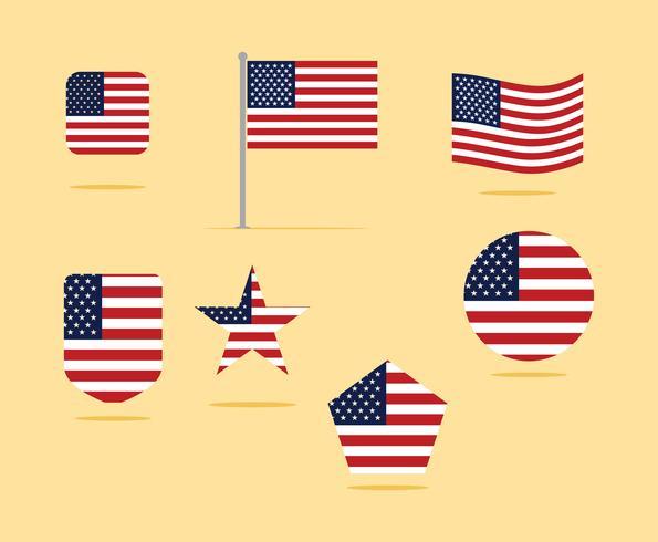 Conjunto de ícones de bandeira americana ilustração vetorial vetor