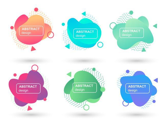 Conjunto de elementos gráficos modernos de formas líquidas abstratas. Formulários e linhas de design fluido. Banners abstratos gradientes. Modelo para a concepção de um logotipo, panfleto ou apresentação. Ilustração vetorial vetor