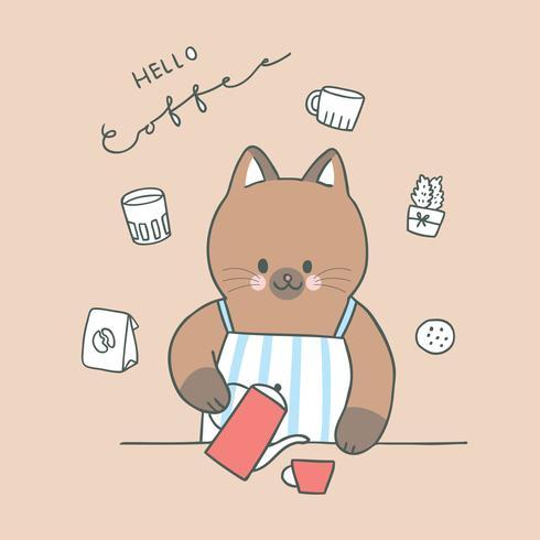 Gato bonito dos desenhos animados e vetor do café.
