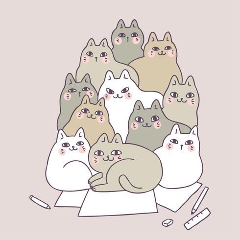 Gatos bonitos dos desenhos animados no vetor de papel.