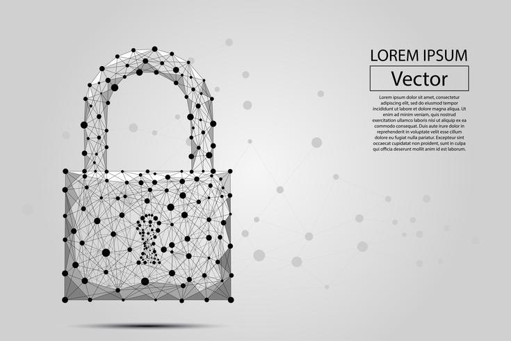 Trava de segurança composta por polígonos. Conceito de negócio de proteção de dados. Ilustração em vetor poli baixa consiste em linhas, pontos, polígonos e formas. Fundo futurista