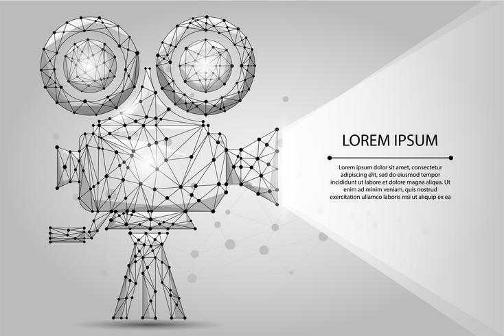 Projetor de cinema retrô poligonal abstrata. Ilustração em vetor de baixo poli wireframe. Tempo de filme. Cinema, filme, cartaz do festival