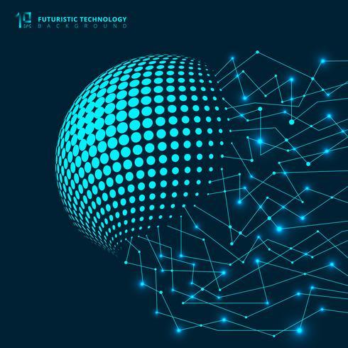 Resumo de tecnologia futurista rede linhas geométricas azuis conexão digital com nós em fundo escuro vetor