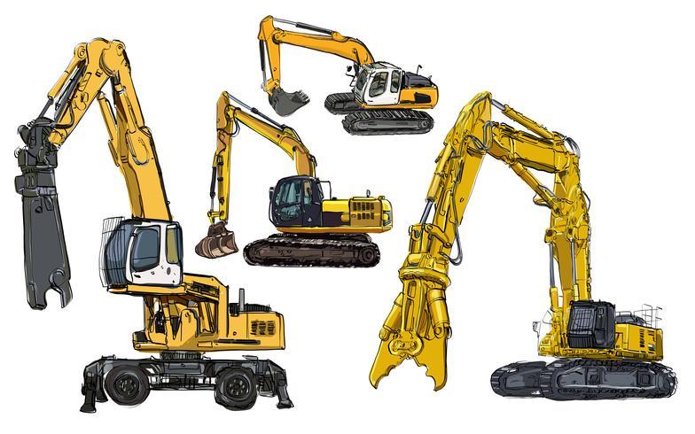 Conjunto de caminhão amarelo de mão desenhada vetor