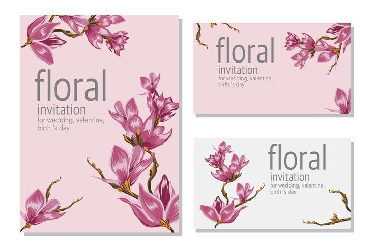 Cartão de casamento floral flor cartaz vetor