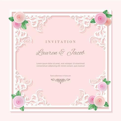 Quadro de recorte de filigrana decorada com rosas. vetor