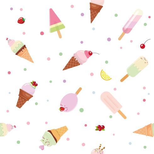 Fundo festivo padrão sem emenda com cones de sorvete de recorte de papel, frutas e bolinhas. Para o aniversário, recados, roupas infantis. vetor