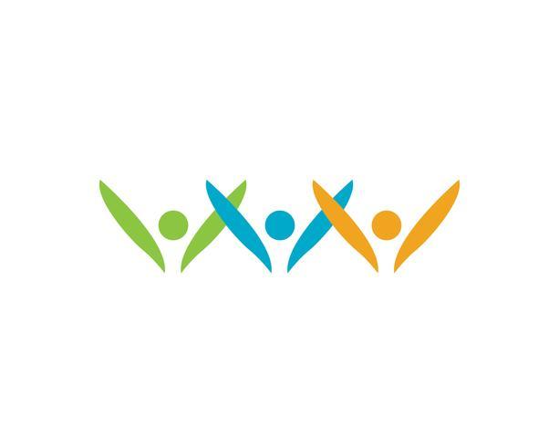 Logotipo de pessoas de sucesso de liderança e símbolo vetor