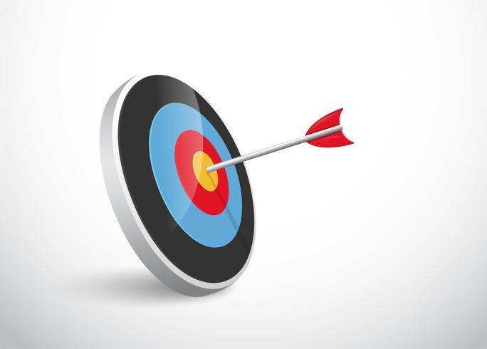 O conceito do sucesso da flecha se curva para o alvo. vetor