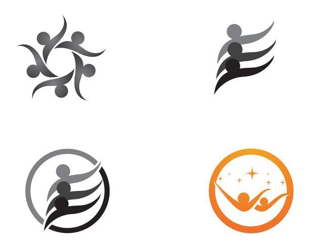 Logotipo e símbolos do grupo de pessoas da comunidade de estrelas vetor