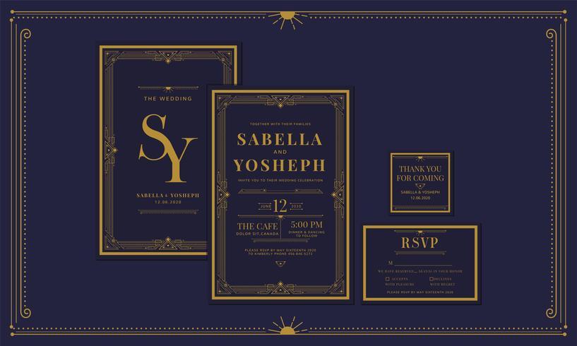 Noivado clássico do art deco do estilo do vintage da marinha clássica / convite do casamento com cor do ouro com quadro. Inclua agradecer-lhe etiquetas e RSVP. Ilustração vetorial vetor