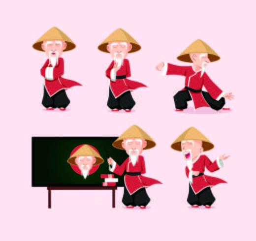mascote chinesa do caráter da arte marcial de Sensei com poses vetor