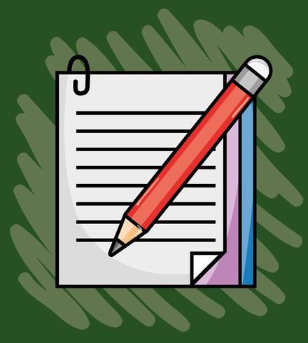 papel de caderno com utensílios de escola de lápis vetor