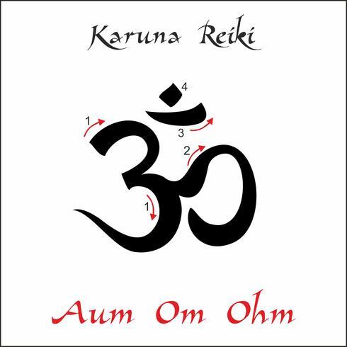 Karuna Reiki. Cura energética. Medicina alternativa. Om Aum Ohm Symbol. Prática espiritual. Esotérico. Vetor